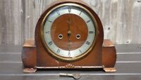 Vintage Smiths Walnut Westminster Mantle Mantel Wind Up Chime Clock Original Key