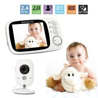 Wireless HD 3.2″ Video Baby Monitor 2.4GHz Security Camera Viewer Night Vision