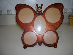 1970's Five Picture Amber Butterfly Frame GROOVY FAR OUT MOD TOTALLY AWESOME!!!