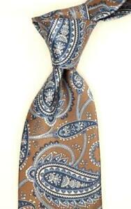 "$240 BRIONI Satin Brown w/ Blue Paisley Print Silk Neck Tie 3.25""W NWT"