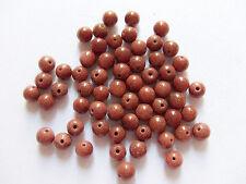 15pz perline  in pietra del sole tondo 6mm colore marrone