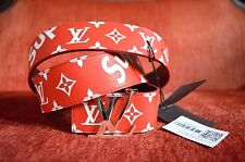 Supreme x Louis Vuitton All Over Monogram Print Belt RED Size 100/40 US 38-40