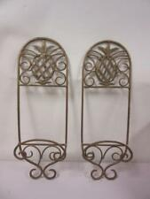 Set of 2 Pineapple Gold Rustic Wall Hanging Plate or Book Holders Display Rack