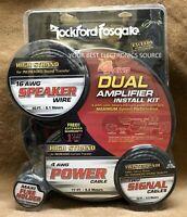 NEW Rockford Fosgate RFK4D, 4 Gauge Complete Dual Amplifier Installation Kit