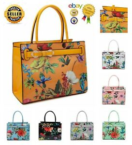 New Women's Stylish Square Shape Floral Pattern Patent Hand Bag With Bow Detail