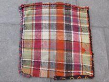 Old Hand Made Persian Oriental Wool Green Pink Tribal Kilim Bag 80x77cm
