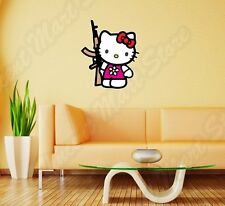 "Hello Kitty AK-47 Assault Rifle Funny Wall Sticker Room Interior Decor 18""X25"""