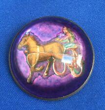 Dome Riding Pin Horse Racing Very Rare Vintage Antique Jockey Glass