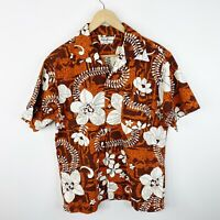 Vintage 60's Hukilau Barkcloth Mens Large Hawaiian Aloha Short Sleeve Shirt