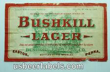 1930's U Permit beer label - Bushkill Lager 3.2% - Easton, Pa