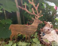 Rentier Garten Advent 25x12 cm Stecker Gold Metall Hirsch Weihnachten