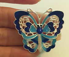 large butterfly charms pendant enamel blue jewelry making wholesale 39mm