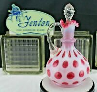 "FENTON GLASS ""VINTAGE~40s""CRANBERRY OPALESCENT""COIN DOT""9""TALL CRUET/BOTTLE"