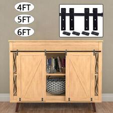 4/5/6ft Sliding Barn Door Hardware Kit Hanger Flat Track for Cabinet TV Stand