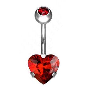 "HEART CZ BOTTOM G23 TITANIUM BELLY BUTTON RING NAVEL PIERCING (14G 3/8"")"