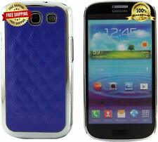 Samsung Galaxy S3 S III Quilted Leather Chrome Case Protective Blue Hard Cover