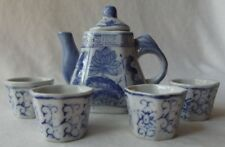 WONDERFUL VINTAGE CHINESE BLUE & WHITE PORCELAIN CHILD'S TEAPOT AND 4 CUPS SET.