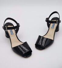 NIB Prada Black Patent Leather Round Heel Sandals 8.5 38.5 New