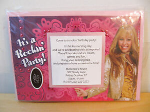 NEW Hallmark Party Hannah Montana 10 Personalized Printable Invitations Kit