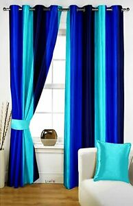 New 2 Piece Eyelet Long Door Curtain Set - 9 feet Blue & Aqua
