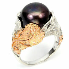 STERLING SILVER 925 ~ 13 mm BLACK TAHITIAN COLOR PEARL RING, SIZE: 8