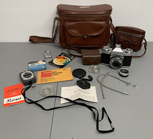 Vintage Zeiss Ikon Contaflex III SLR 35mm Film Camera W/ LOT Of Accessories Bag
