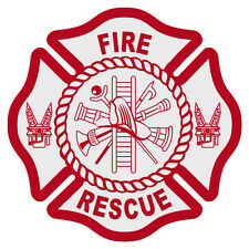 "Fire Rescue Reflective Red Maltese Cross Firefighter Decal Sticker 3"" approx."