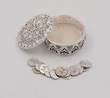 Silver Metal Round Rhinestone Wedding Arras Box Set with Coins SR01