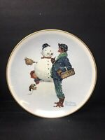 Norman Rockwell Plate. Winter -Snow Sculpture from The Four Seasons Series 1969