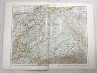 1899 Antik Map Of Deutschland Württemberg Obere Bavaria 19th Century Original