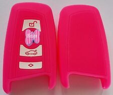 PINK 3 BUTTON SILICONE  KEY COVER SUITS BMW NEW 3/5/7 SERIES X1 X3 X5 X6
