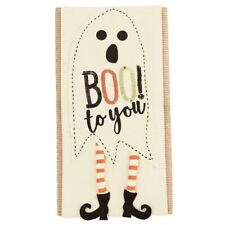 """Mud Pie Halloween Sequin PILLOW WRAP- Ghost w dangle legs """"Boo! to you"""" 7x31 in"""
