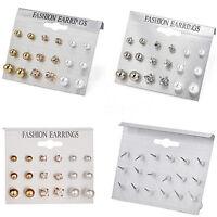 9 Pair Fashion Rhinestone Crystal Pearl Earrings Set Women Ear Stud Jewelry FT