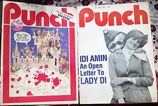2 Vintage Punch Magazine UK Humour Princess Lady Diana 1980s War Victor Lownes