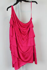 BCBG Max Azria Dress Azalea Red One Shoulder Strap Layers $218 MSRP Sz L CL