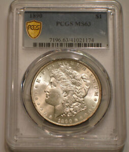 1890 P Morgan Silver Dollar PCGS MS 63 SPARKLING Frosty luster GOLD SHIELD