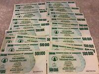 Lot Of 20 X Zimbabwe Banknotes. 500,000 Dollars. Dated 2008. 20 Pcs.