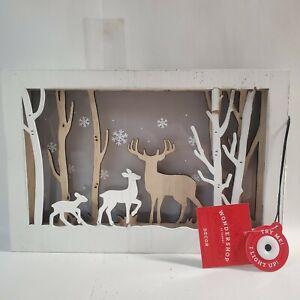 Wood Shadow Box Sign - Christmas Wondershop  Target Deer Forest Snow Scene