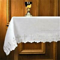 """100% Linen Altar Cloth White Cross Embroidery Scalloped Edges 51""""W x 96""""L"""