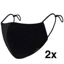 2 modieuze beschermingsmasker van zwart katoenen verstelbare stof, aangenaam was
