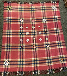 ALL WOOL vintage 80's girl guide souvenir blanket badges super roo Dubbo muster