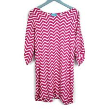 ESCAPADA Dress - Size Medium M - Pink - Chevron - Zig Zag - 3/4 Sleeve - Women