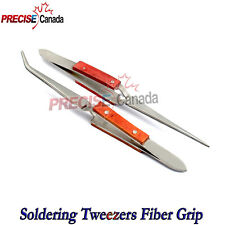 Soldering Tweezers Serrated Tips Fiber Grip Heat Resistant Lab Dental Jeweler