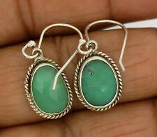 Chrysoprase Natural Gemstone Earrings Solid 925 Sterling Silver Jewelry 3.1 Gm