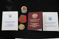 Soviet Medal Order Doc Lot Ukraine WW2 OGPW 50 Year Victory Same Person Named