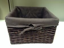 Jute Seagrass Woven Storage Decor Square Basket & Liner Dark Brown SMALL 10x7