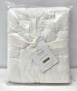 NEW Pottery Barn Bliss Handcrafted Linen Cotton Quilted EURO Sham~White