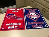 MLB Philadelphia Phillies Baseball Team Logo Parking & Fans Only Sign   2 Signs
