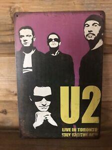 "U2 Live in Toronto July 17 Repro Tin Metal sign 8""X12"" Man-Cave Décor Bono Edge"