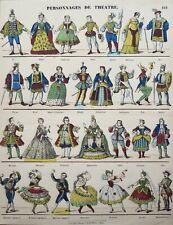 Imagerie populaire, Gangel, personnages de théatre, costumes, XIXe